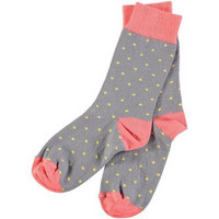Ladies Cotton Grey Dot Ankle Socks