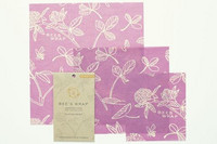 Bee's wrap 3- pakkaus kaikki koot (small, medium, large) Clover Print-Mimi's Purple