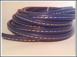 Nahkanauha Regaliz®, 10 x 7 mm, tikattu, sininen