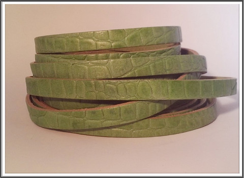 Nahkanauha, 10 x 2 mm, kroko, vihreä