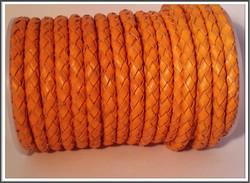 Nahkanauha Ø 5 mm, punottu, oranssi