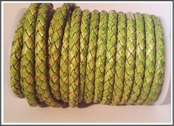 Nahkanauha Ø 5 mm, punottu, vihreä