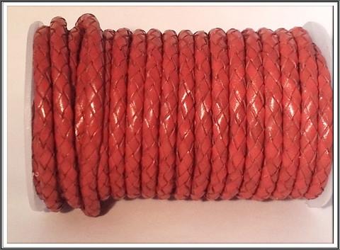 Nahkanauha Ø 5 mm, punottu, punainen