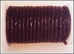 Nahkanauha Ø 5 mm, punottu, musta
