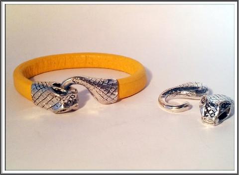 Lukko, käärme, antiikkihopeaväri
