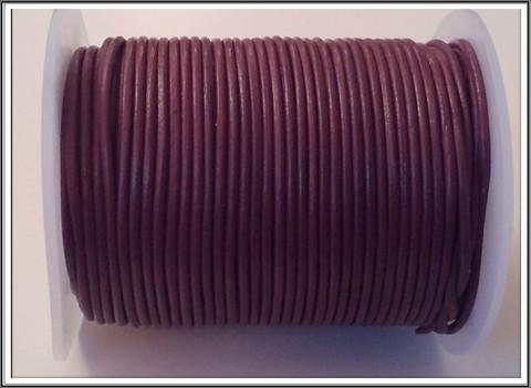 Nahkanauha pyöreä Ø 2 mm, tumma viini, metri