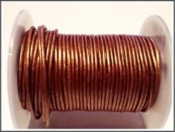 Nahkanauha pyöreä Ø 2 mm, metalli kupari, metri