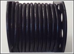 Nahkanauha pyöreä Ø 5 mm, sileä, musta