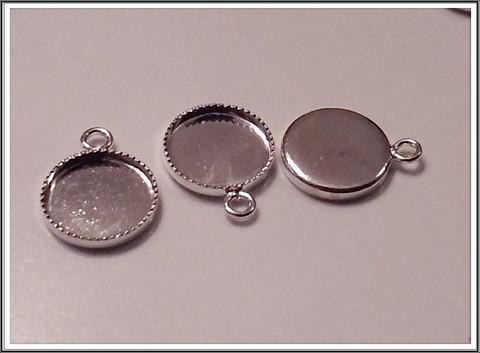Korupohja, hopeoitu, pyöreä Ø 8 mm, riipus