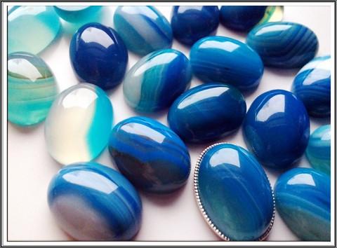 Akaatti, raita, 18 x 13 mm, sininen