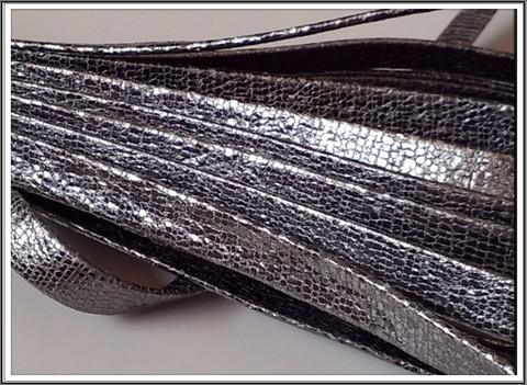 Nahkanauha 10 x 2 mm, käärmekuosinen Nappa, hopea