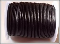 Nahkanauha pyöreä Ø 2 mm, musta, metri