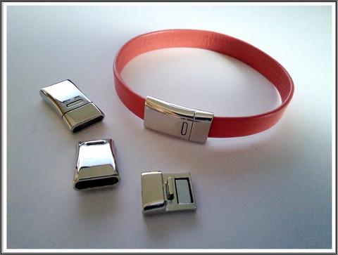Magneettilukko 10 x 2 mm nauhalle, sileä, teräsväri