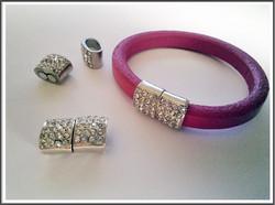 Magneettilukko 10 x 7 mm nauhalle, tsekkiläisillä kristalleilla