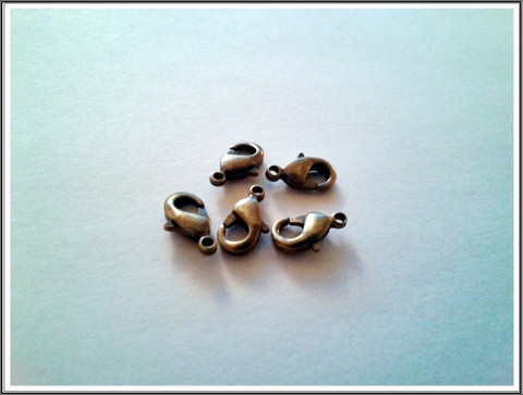 Papukaijalukko 10 mm, antiikkipronssi, 5 kpl