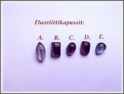 Fluoriitti AA, isot kapussit, eri muotoja