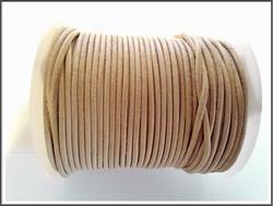 Nahkanauha pyöreä Ø 2 mm, vaalea luonnonväri, metri