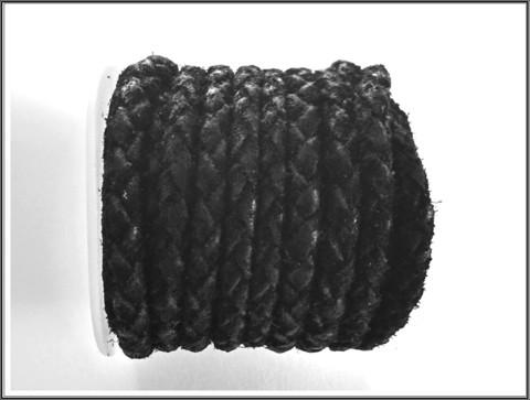 Mokkanauha pyöreä Ø 5 mm, punottu, musta