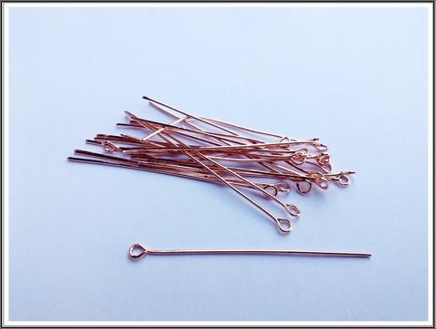 Korupiikit 50 mm silmukalla, Ø 0.7 mm, ruusukulta, 20 kpl