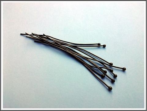 Korupiikit 60 mm, Ø 0.8 mm pallopää, antiikkipronssi, 10 kpl