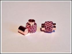 Magneettilukko Ø 6 mm nauhalle, strassikoristeltu, v.pun/ruusukulta