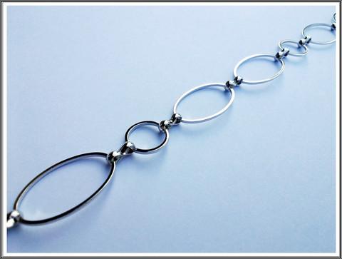 Metalliketju, lenkit Ø 12 mm ja 24 x 14.5 mm, kirkas teräsväri, metri