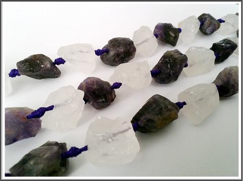 Ametisti & vuorikristalli, rouheat nugetit, ½ nauha