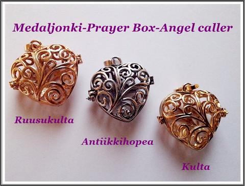 Medaljonkiriipus/Angel caller/Prayer box, 32 x 30 mm sydän, eri värejä