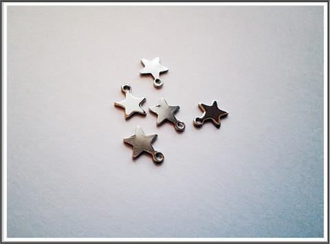 Metalliriipus tähti, 10 x 8 mm, ruostumaton teräs, 5 kpl