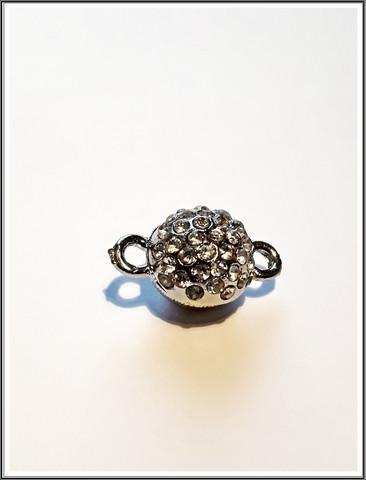Magneettilukko Ø 10 mm, teräsväri kristallikoristein