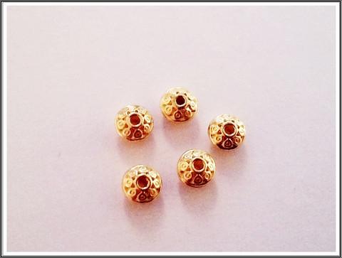Metallihelmi/rondelli 6.5 x 4 mm koristeltu, 5 kpl, kulta