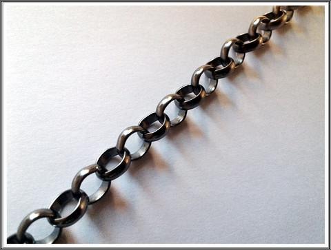 Papuketju Ø 8 mm, tumma teräsväri, ½ metriä
