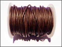 Nahkanauha pyöreä Ø 2 mm, metalli pronssi, metri