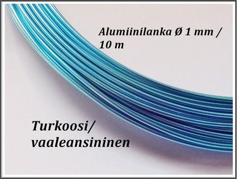 Värillinen alumiinilanka Ø 1 mm, 10 metriä, turkoosi