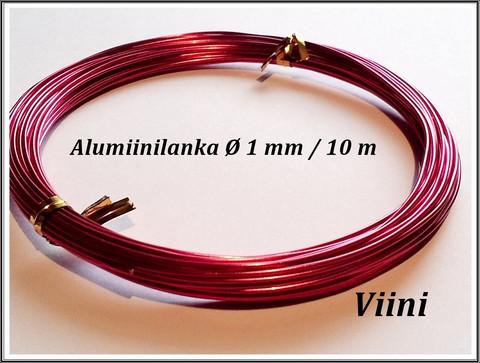Värillinen alumiinilanka Ø 1 mm, 10 metriä, vadelma
