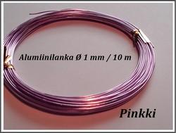 Värillinen alumiinilanka Ø 1 mm, 10 metriä, pinkki