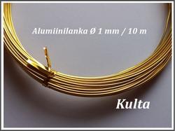 Värillinen alumiinilanka Ø 1 mm, 10 metriä, vaalea kulta