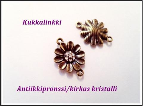 Korulinkki kukka kristalleilla, antiikkipronssi/kirkas kristalli