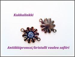 Korulinkki kukka kristalleilla, antiikkipronssi/vaalea safiiri