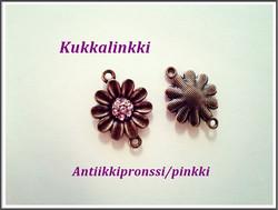 Korulinkki kukka kristalleilla, antiikkipronssi/pinkki