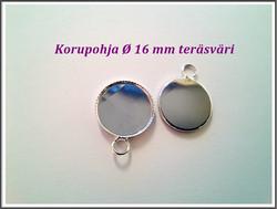 Korupohja pyöreä Ø 16 mm kapussille, teräsväri