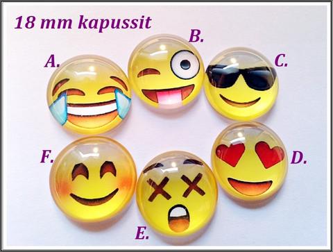 Lasikapussi Ø 18mm, Emoji, eri fiiliksiä