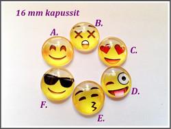 Lasikapussi Ø 16 mm, Emoji, eri fiiliksiä