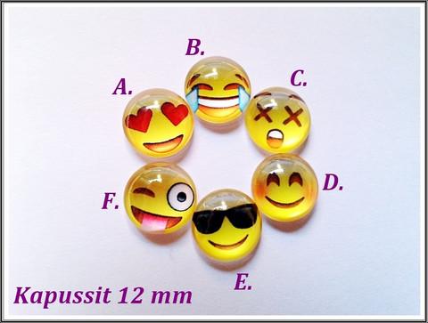 Lasikapussi Ø 12 mm, Emoji, eri fiiliksiä