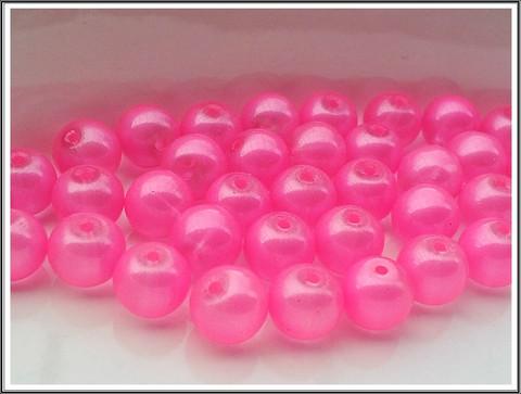 Helmiäislasihelmet Ø 10 mm, pinkki, 40 kpl