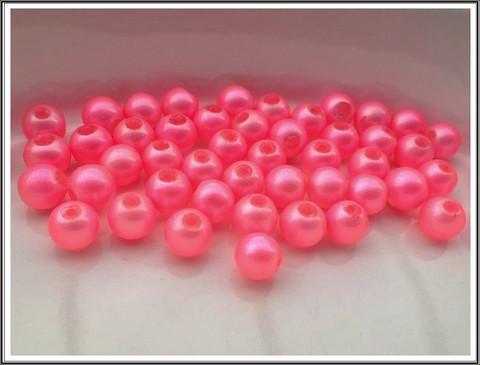 Helmiäislasihelmet Ø 8 mm, kirkas pinkki, 50 kpl