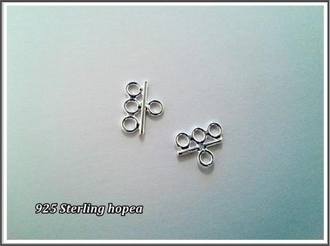 Linkki/pääte .925 hopea, 12 x 9 mm, 3-rivinen