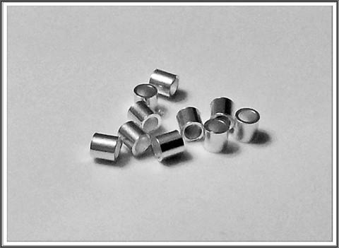 Puristushelmi .925 hopeaa, putki 2 x 1.5 mm, 10 kpl