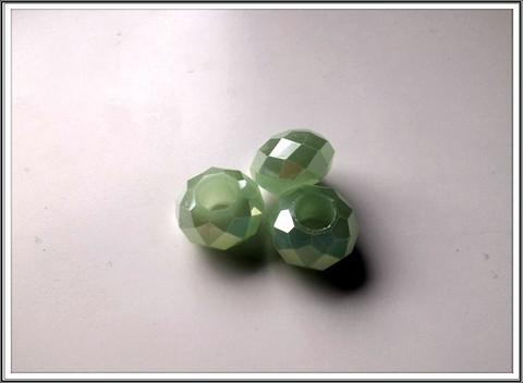 Kristallilasihelmi, 14 x 9 mm, Light Green Opal AB