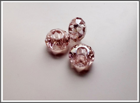 Kristallilasihelmi, 14 x 9 mm, Light Rose AB